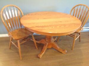 Oak Table Chairs and China Cabinet