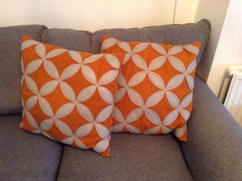 Next Reversible Orange Amp Grey Cushions X 4 In Chryston