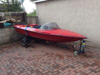 Fletcher 13 foot speedboat plus trailer Mercury engine