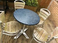 Outside table and 4 metal frame chairs