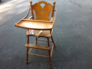 Antique Wooden Baby Feeding High Chair