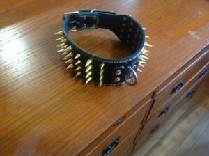 XL Leather Spike Collar New/Neuf