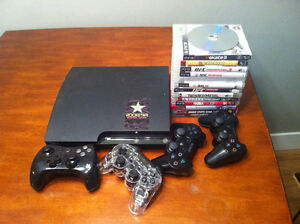 PS3 slim (250GB) (CECH-2101B), 14 PS3 games & 4 PS3 controllers.
