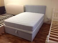 DOUBLE LUXURY GREY FABRIC OTTOMAN BED WITH MATTRESS