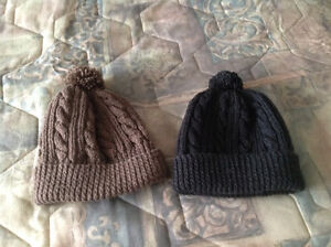 Hand knit cable touques