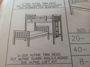 Canwood solid wood offset bunk beds (twin and loft bed)