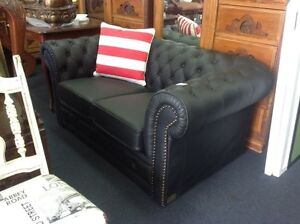 BRAND NEW Leather 2 seater black chesterfield sofa Ashmore Gold Coast City Preview