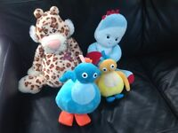 Mixed Soft toys including Tiger, Twirlywoos and Igglepiggle Night Garden