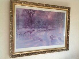 Beautiful picture of farmer snow scene