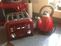 Russell Hobbs Kettle & Morphy Richards Toaster in Red