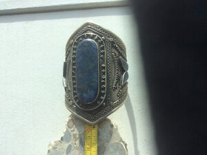 Huge cuff bracelet unmarked silver and lapis lazuli
