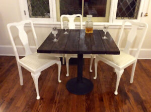 Handmade pub style dining table with iron base