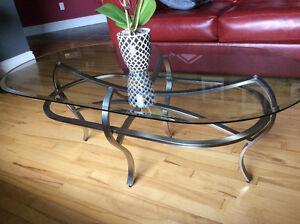 Unique Glass Coffee Table and End Table for Sale