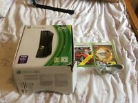 Xbox 360 slim Matt black 250GB with 2 games , headset and controller