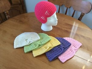 Handmade Little Girl Butterfly Hat or Messy Bun / Ponytail Hat