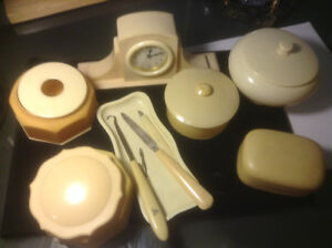 RARE OLD VINTAGE French Celluloid Ivory Set CLOCK 11Pc