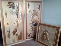 Hand carved wooden oriental pictures.