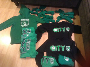 City soccer lot of hoodies sweatshirts tees and socks