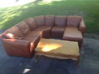 Brown Leather Sectional with Oak Table