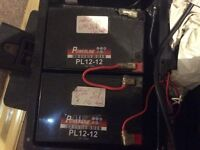 Mobility scooter batteries ( two 12Ah - 12 ) batteries for sale )