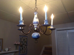 Blue and White Pottery Chandelier
