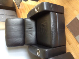 Leather black recliner