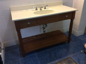 Marble top, Cherry vanity with hardware