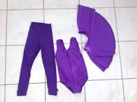 Purple leotard, Lycra leggings and skirt age 4-7 - excellent condition