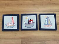 Set of 3 sailboat pictures