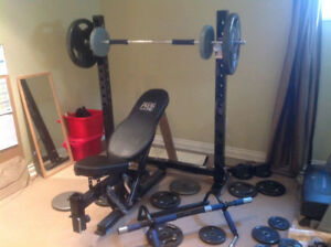 Pro Olympic Bench Press / Squat Rack + 100lbs Weights + Bar