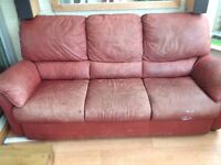 Old leather 3 seater sofa
