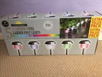 2 x 5Pack Stainless Steel solar powered light posts-colour changing