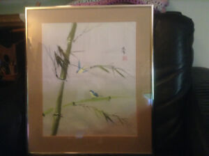 Antique Chinese Signed Watercolor Silk Birds