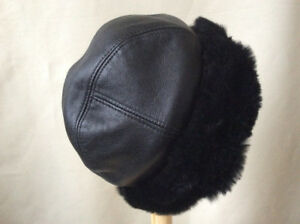 Genuine Leather Hat with Real Rabbit Fur Warm Soft Accessory