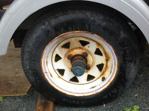 Used spare wheel for boat trailer.   Tire size is 5.30-12