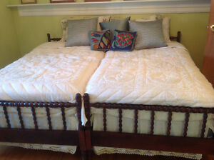 TWIN BEDS, TWO ANTIQUE BEDS