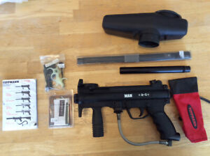 Tippmann A5 with big shot barrel, upgraded cyclone feed