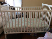 White BABY CRIB with mattress  $75 neg