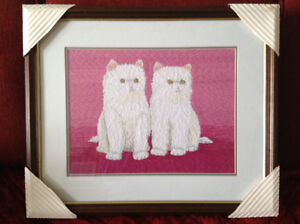 White Cats - Japanese Bunka Embroidered Wall Picture