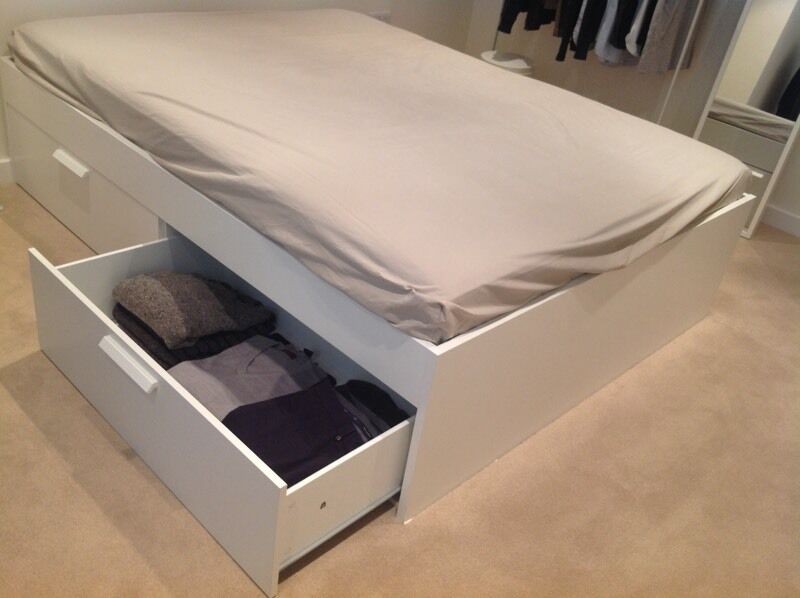 Ikea Brimnes bed with storage drawers   foam mattress. Ikea Brimnes bed with storage drawers   foam mattress   in Windsor
