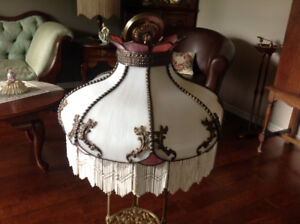 Antique stained glass ceiling light fixture