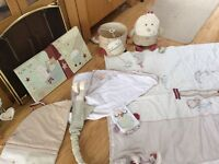 Cot bed bedding and Mobil /lamp shade/toy/ pictures etc etc