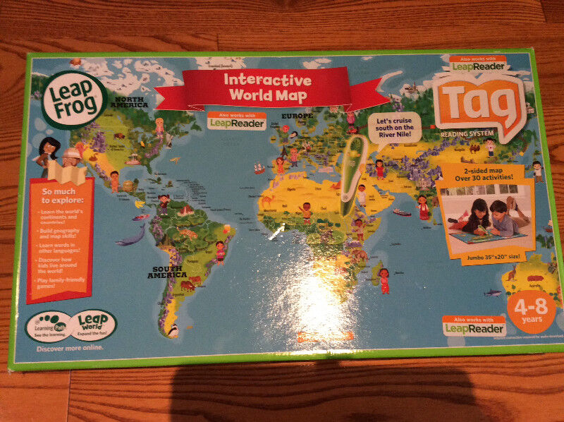 Leap Frog Interactive World Map 2 Sided Tag System Leapreader