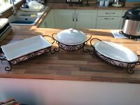 Set of 3 large Signature oven to table dishes with stands - perfect condition ideal for entertaining
