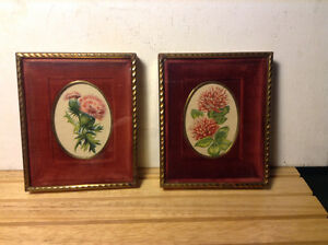 Vintage Pair Shadow Box Framed Needlepoint Victorian