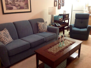 AS GOOD AS NEW!  ELEGANT AND COMFORTABLE SOFA AND POWER RECLINER