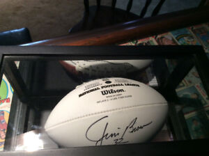Jim Brown signed football with case and COA