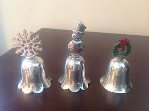 SET OF 3  CHRISTMAS SILVER PLATE COLL BELLS
