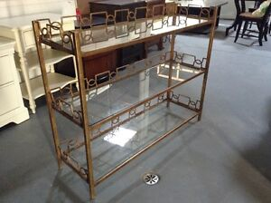 really nice 3 glass shelfs console table with gold frame