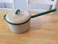 Large Vintage Enamel Saucepan